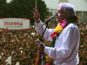 Presidential front-runner Andres Manuel Lopez Obrador of the National Regeneration Movement addresses supporters during a rally in Atlixco, Mexico, June 6, 2018
