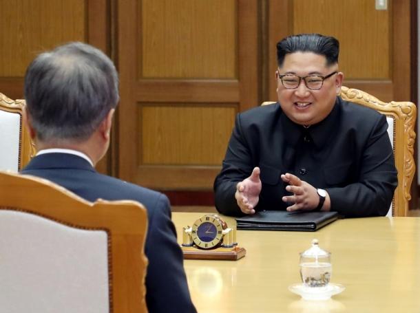North Korean leader Kim Jong-un (right) and North Korean official Kim Yong Chol (left) meet with South Korean President Moon Jae-in at the truce village of Panmunjom, North Korea, May 26, 2018