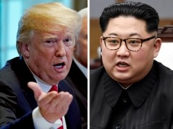 U.S. President Donald Trump and North Korean leader Kim Jong-un in Washington, D.C., May 17, 2018, and in Panmunjom, South Korea, April 27, 2018, respectively