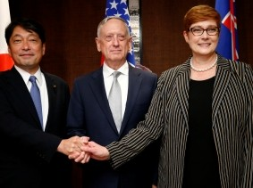 Japan's Defence Minister Itsunori Onodera, U.S. Secretary of Defence Jim Mattis, and Australia's Defence Minister Marisa Payne meet on the sidelines at the IISS Shangri-la Dialogue in Singapore, June 2, 2018