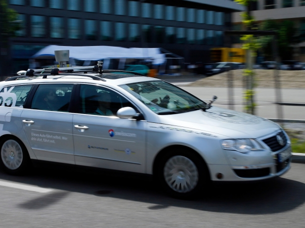 AutoNOMOS self-driving car drives during a presentation in Zurich, Switzerland, May 12, 2015