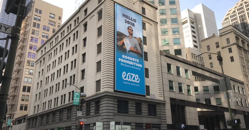 A billboard advertises marijuana in advance of the legalization of recreational marijuana in San Francisco, California, December 29, 2017