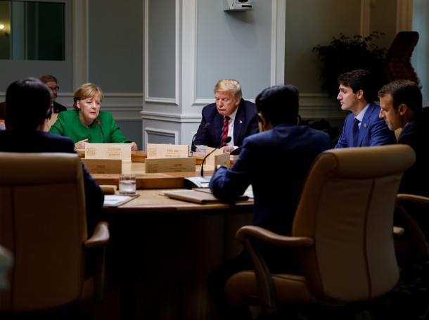G7 leaders take part in a working session on the first day of the G7 meeting in La Malbaie, Quebec, Canada, June 8, 2018