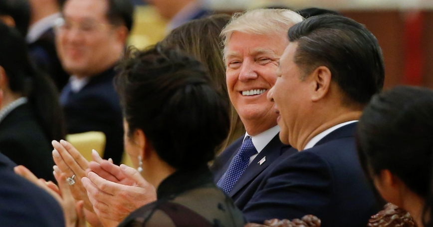 U.S. President Donald Trump and China's President Xi Jinping attend a state dinner at the Great Hall of the People in Beijing, China, November 9, 2017