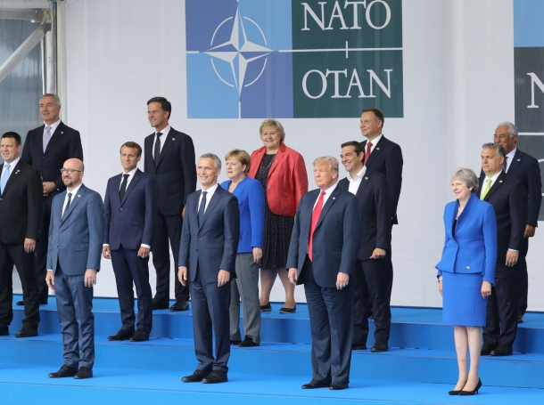 Heads of state ahead of the opening ceremony of the NATO summit, at NATO headquarters in Brussels, Belgium, July 11, 2018
