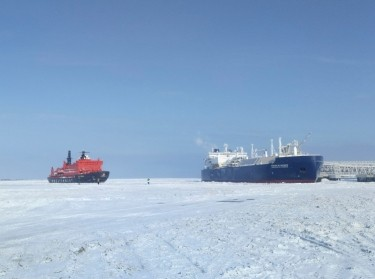 The Christophe de Margerie (R), an ice-class tanker fitted out to transport liquefied natural gas, is docked in Arctic port of Sabetta, Yamalo-Nenets district, Russia March 30, 2017