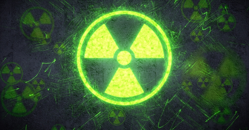 A simple radiation warning design on a concrete wall