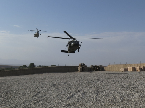 NATO helicopters land at Afghan and U.S. Special Forces base in Deh Bala district, Nangarhar province, Afghanistan, July 7, 2018