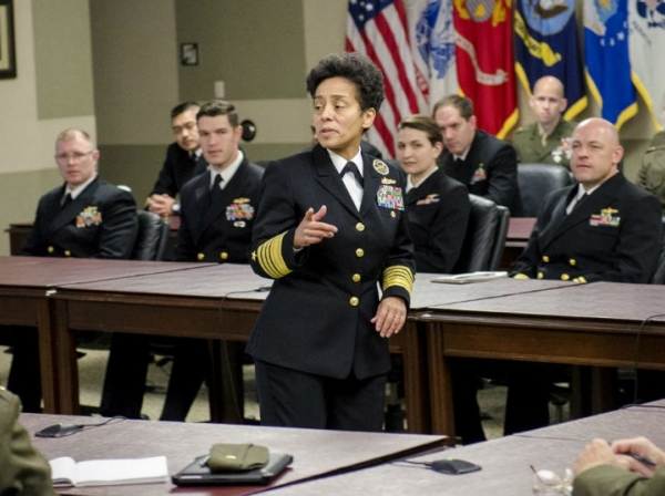 Admiral Michelle Howard visiting Fort Leavenworth