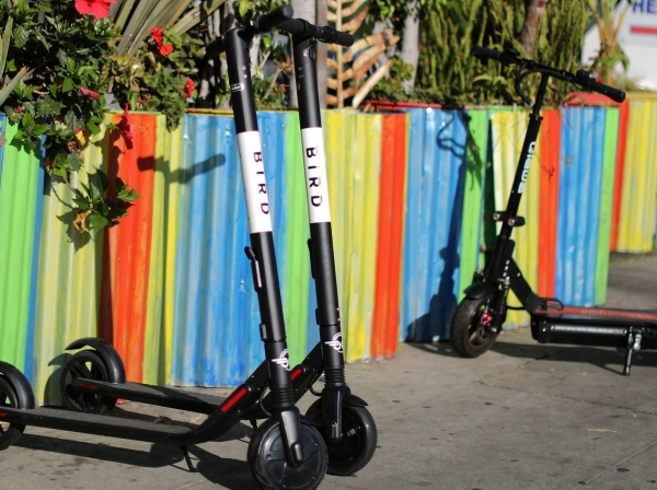 Bird scooters outside a restaurant in Santa Monica, California, July 23, 2018