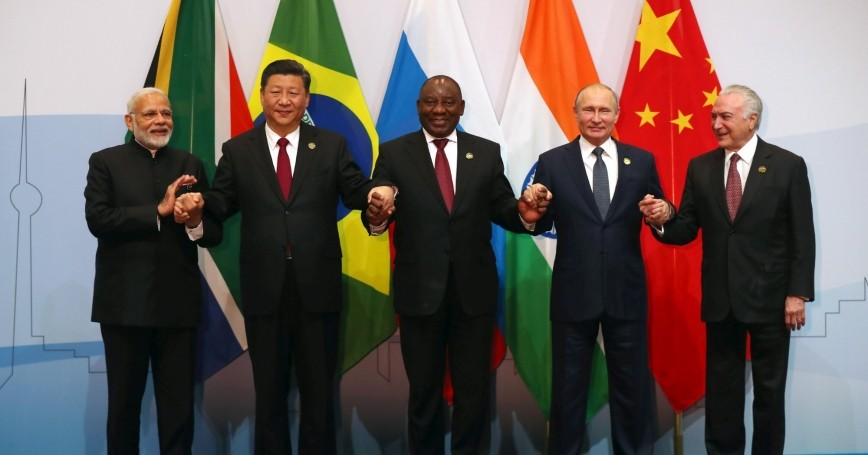Indian Prime Minister Narendra Modi, China's President Xi Jinping, South Africa's President Cyril Ramaphosa, Russia's President Vladimir Putin and Brazil's President Michel Temer pose for a group picture at the BRICS summit meeting in Johannesburg, South Africa, July 26, 2018