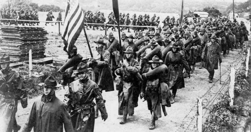 Detachment of Americans leave for the front, Le Havre, France, July 12, 1918