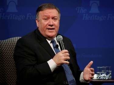 U.S. Secretary of State Mike Pompeo delivers remarks on the Trump administration's Iran policy at the Heritage Foundation in Washington, May 21, 2018