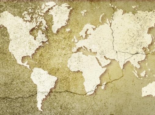 Eroding world map