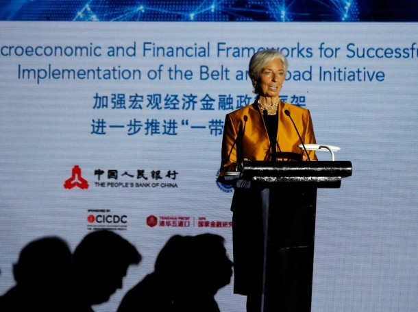 International Monetary Fund Managing Director Christine Lagarde speaks at a Belt and Road conference in Beijing, China, April 12, 2018