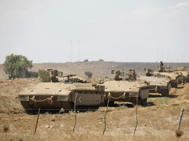 Israeli armored vehicles take part in a drill in the Israeli-occupied Golan Heights, August 7, 2018 August 7, 2018
