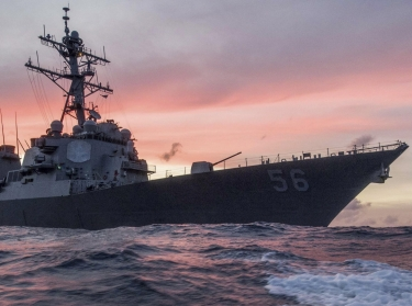 The U.S. Navy destroyer USS John S. McCain conducts a patrol in the South China Sea, January 22, 2017