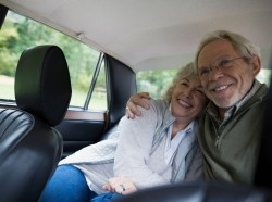 Senior couple in a car