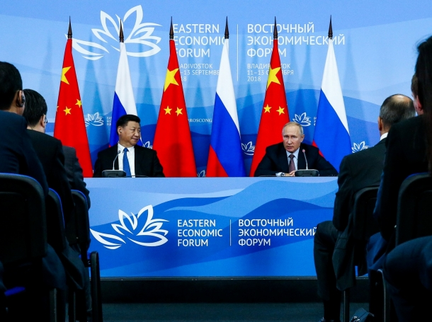 Chinese President Xi Jinping and Russian President Vladimir Putin following Russian-Chinese talks at the Eastern Economic Forum in Vladivostok, Russia, September 11, 2018