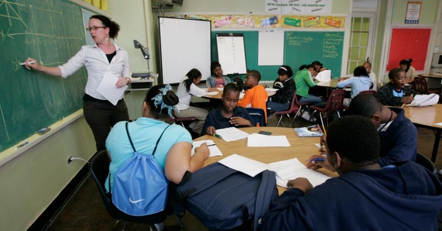 Teacher Darcy McKinnon teaches math to her seventh grade class at Samuel J. Green Charter School in New Orleans, Louisiana, February 22, 2006