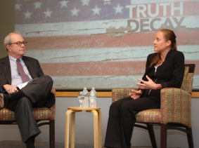 "Jennifer Kavanagh and William ""Pat"" Getty discuss  ""Truth Decay"" at RAND, September 20, 2018"