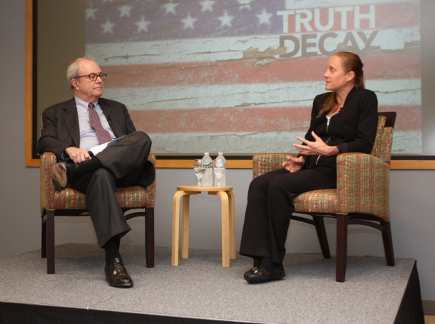 """Jennifer Kavanagh and William """"Pat"""" Getty discuss  """"Truth Decay"""" at RAND, September 20, 2018"""