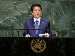 Japan's Prime Minister Shinzo Abe addresses the 73rd session of the United Nations General Assembly at the U.N. headquarters in New York, September 25, 2018