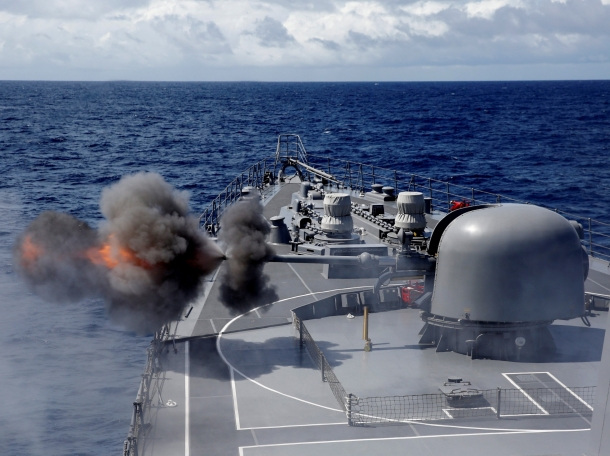 Japanese destroyer Inazuma test firing its 76-millimetre cannon in the Indian Ocean, September 27, 2018. Picture taken September 27, 2018