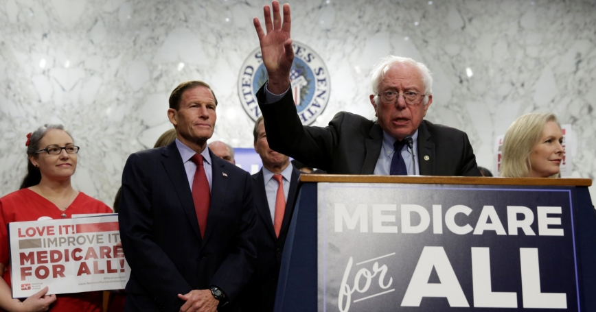 Senator Bernie Sanders (I-VT) speaks during an event to introduce the Medicare for All Act of 2017 on Capitol Hill in Washington, September 13, 2017