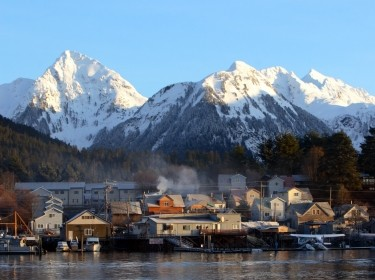 The town of Sitka, Alaska, at dawn