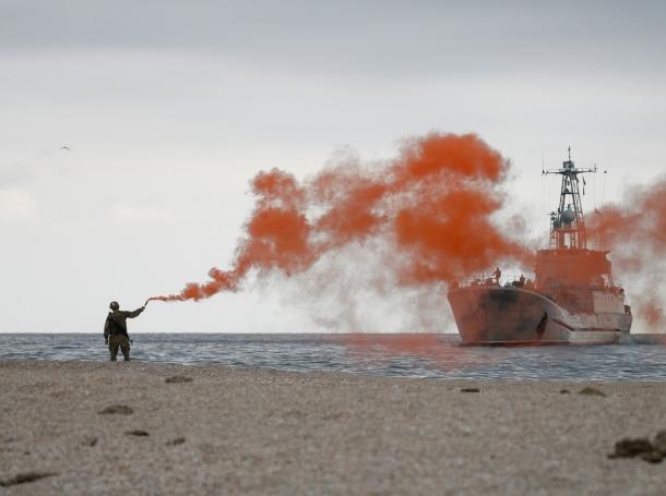 Ukrainian army landing craft Yurii Olefirenko in the Black Sea during military drills in the Kherson Region, Ukraine, September 29, 2018