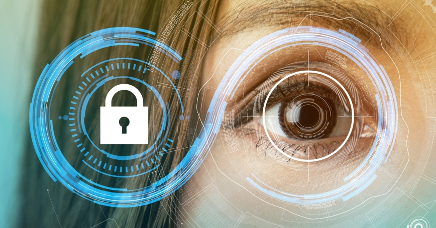 Woman's eye with technology of security concept