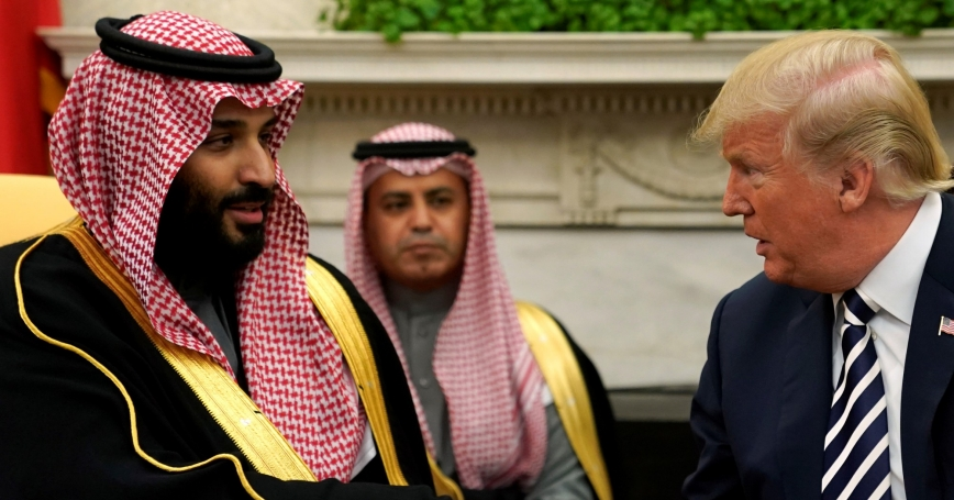 U.S. President Donald Trump shakes hands with Saudi Arabia's Crown Prince Mohammed bin Salman in the Oval Office at the White House in Washington, March 20, 2018