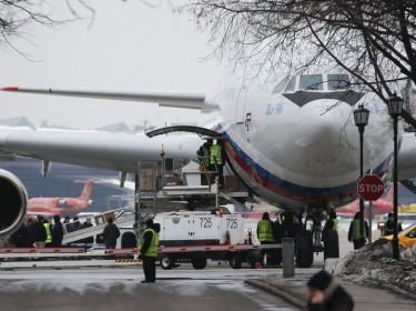 The Ilyushin Il-96 aircraft transporting expelled Russian diplomats and their family members from the U.S., shortly after landing at Vnukovo airport outside Moscow, Russia, April 1, 2018