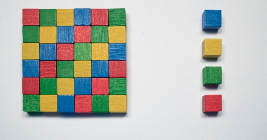 Color blocks in a a square with four separated out