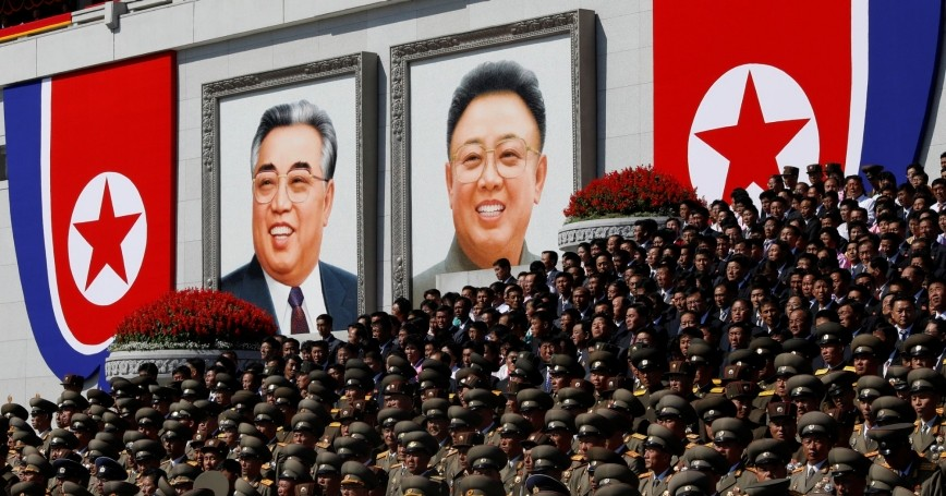 Senior military officials watch a parade at the main Kim Il Sung Square in Pyongyang, North Korea, September 9, 2018