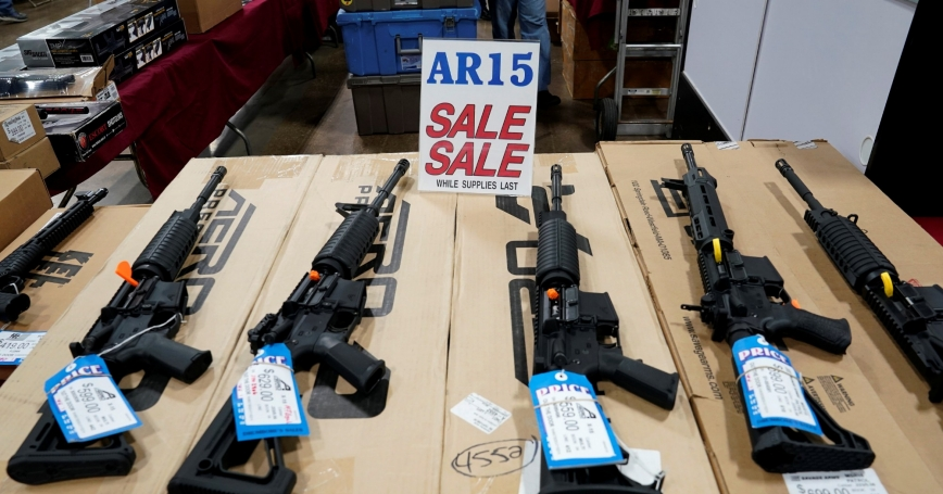 AR-15 rifles are displayed for sale at the Guntoberfest gun show in Oaks, Pennsylvania, October 6, 2017