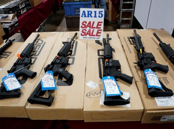AR-15 rifles are displayed for sale at the Guntoberfest gun show in Oaks, Pennsylvania, October 6, 2017