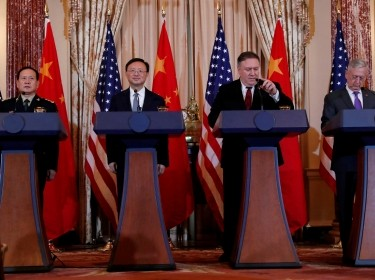 L-R Chinese Minister of National Defense Gen. Wei Fenghe, Chinese Communist Party Office of Foreign Affairs Director Yang Jiechi, U.S. Defense Secretary James Mattis, and U.S. Secretary of State Mike Pompeo hold a joint news conference at the U.S. Department of State, Washington, D.C., November 9, 2018