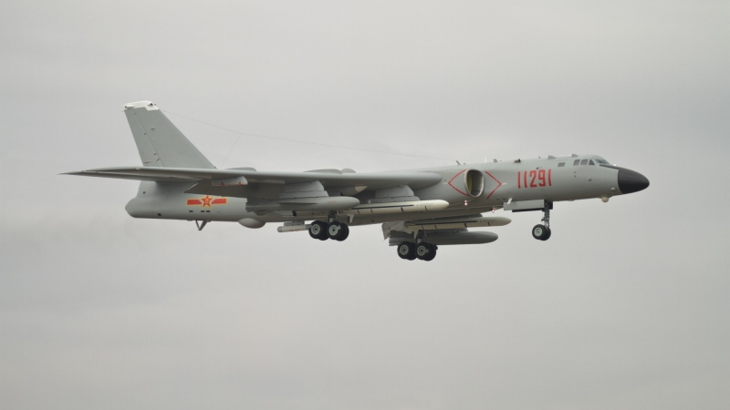 A Xian H-6K bomber landing at Zhuhai Jinwan airport ahead of Airshow China 2018