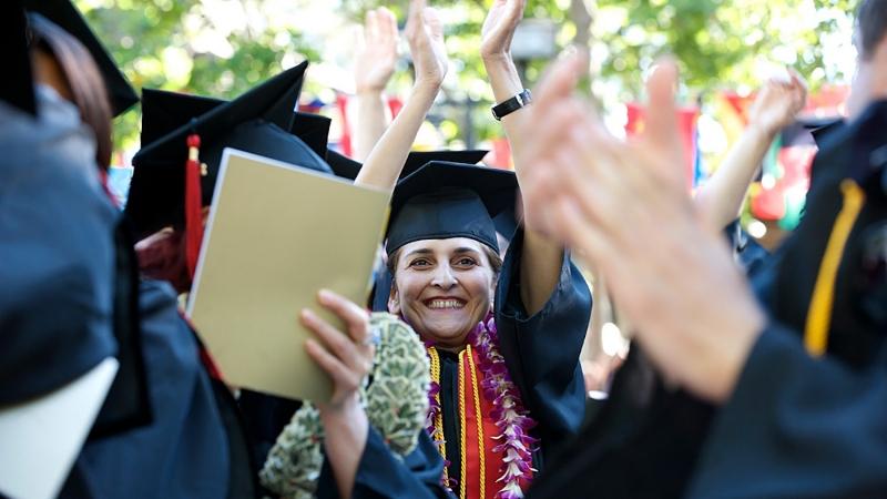 A woman graduating
