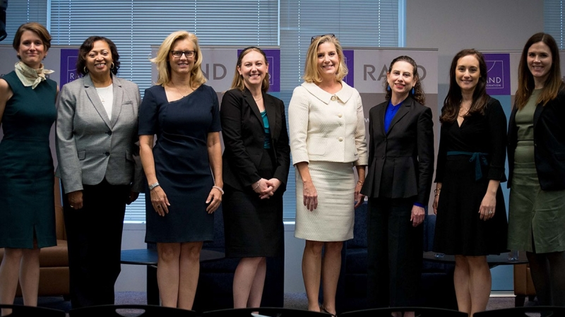 L-R: Caroline Baxter, Cherie Emerson, Melissa Rowe, Elizabeth Bodine-Baron, Christine Wormuth, Kimberly Kagan, Cortney Weinbaum, Stacie Pettyjohn at the Roberta Wohlstetter Forum on National Security in Arlington, Virginia, October 24, 2018