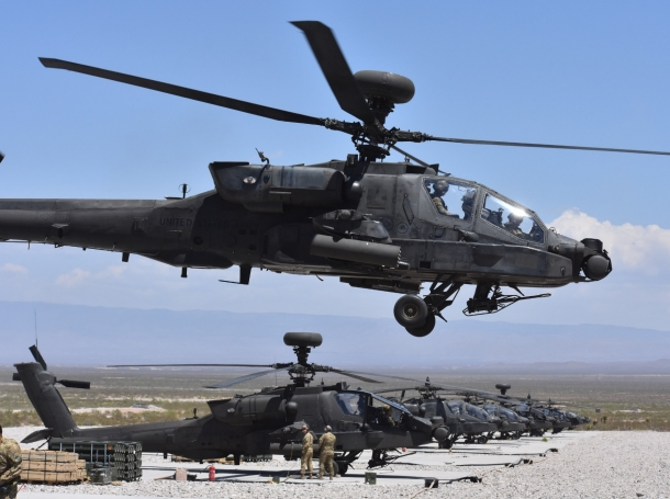 Part of Operation Future Vertical Lift, an AH-64 Apache helicopter takes off in Orogrande, N.M., April 23, 2018