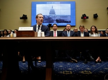 Facebook CEO Mark Zuckerberg testifies before a House Energy and Commerce Committee hearing regarding the company's use and protection of user data on Capitol Hill in Washington, U.S., April 11, 2018