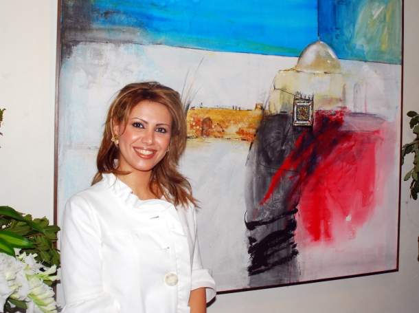 Fadia Afashe showing her work at an art gallery in Damascus, Syria, April, 2009