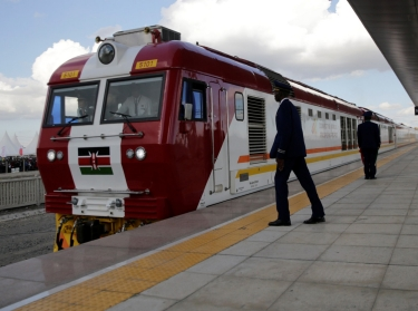 A train launched to operate on the Standard Gauge Railway line constructed by the China Road and Bridge Corporation and financed by Chinese government arrives at the Nairobi Terminus on the outskirts of Nairobi, Kenya, May 31, 2017