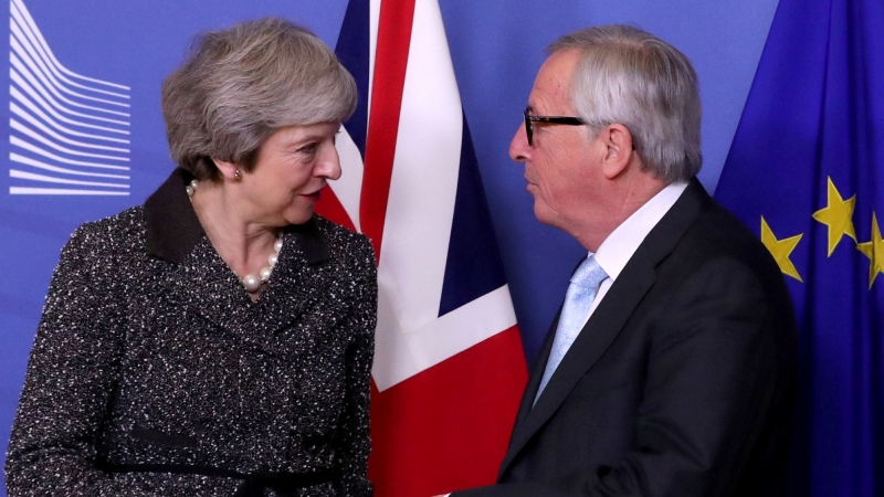 British Prime Minister Theresa May meets with European Commission President Jean-Claude Juncker to discuss Brexit, at the European Commission headquarters in Brussels, Belgium, December 11, 2018