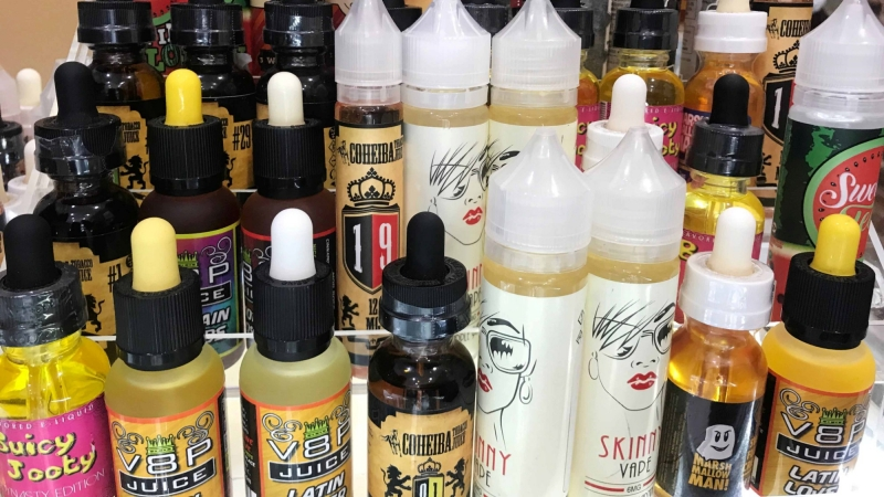 Vape liquids for sale in New York, New York, September 20, 2018
