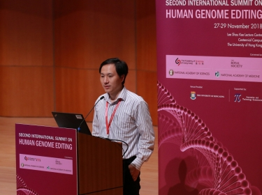 Scientist He Jiankui speaks during the International Summit on Human Genome Editing at the University of Hong Kong in Hong Kong, China, November 28, 2018