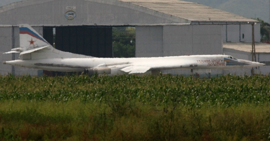 Russia's Tu-160 bomber at the military air base Libertador in Palo Negro, Venezuela, September 11, 2008